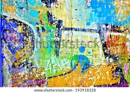 Graffiti / Street art / Abstract / Letter A / Peeling paint - stock photo