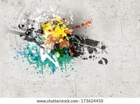 Graffiti style image of snowboarder against grunge background - stock photo