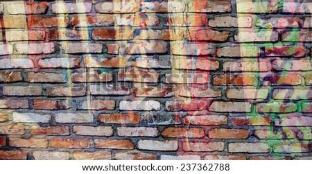 graffiti texture on brick wall - stock photo