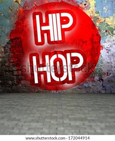 Graffiti wall with Hip Hop, urban art grunge street - stock photo