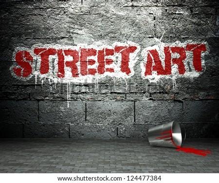 Graffiti wall with street art, background - stock photo
