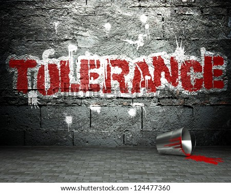 Graffiti wall with tolerance, street art background - stock photo