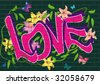 graffiti with flowers - stock vector