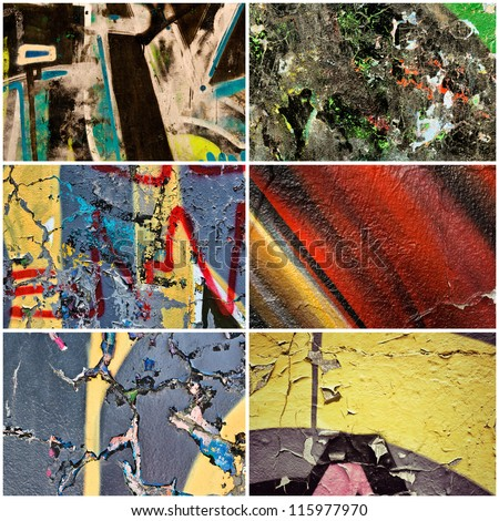 Graffity on the wall collage - stock photo