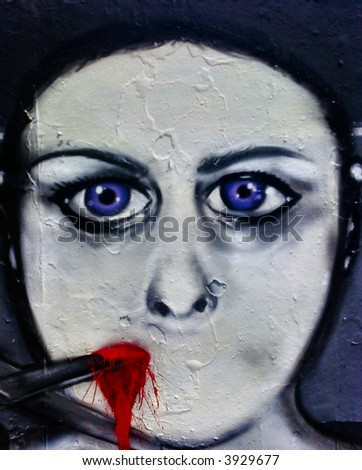 grafitti face - stock photo