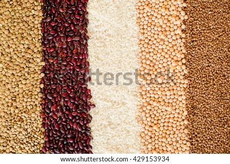 Grain and beans background. top view
