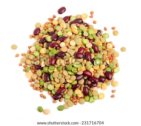 Grain and beans in a heap close up on a white background. - stock photo
