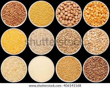 Grain and cereal food selection in porcelain bowls: buckwheat, millet, chick-pea, peas, crushed corn, crushed barley; barley, oat flakes, rice, semolina, crushed wheat; lentil. Isolated on black. - stock photo
