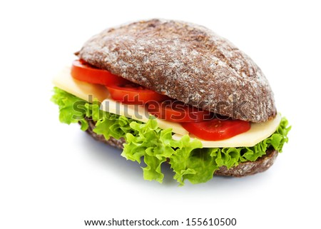 Grain bread sandwiches with ham,cheese and fresh vegetables over white - healthy eating concept - stock photo
