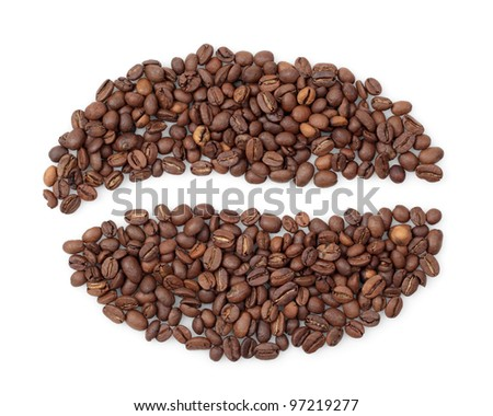 Grain coffee from beans on white background.