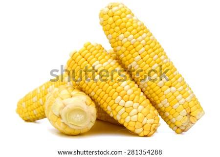 grain corn closeup on white background - stock photo