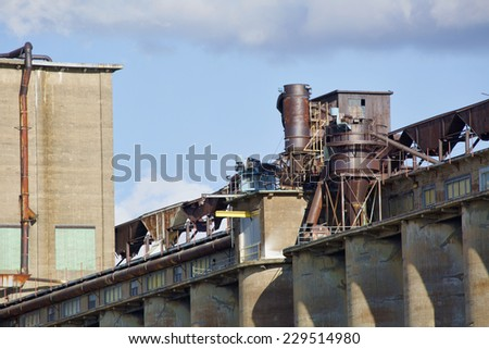 Grain elevator along the Buffalo, New York waterfront. The building was at one time, one of the largest grain elevators in the world.  - stock photo