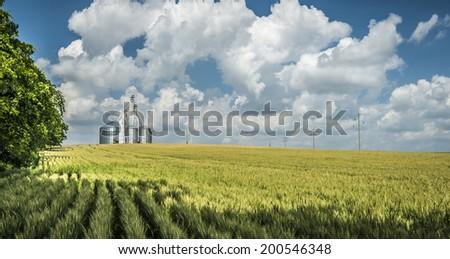 Grain Elevator on Hill - stock photo