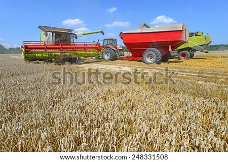 Grain harvesting combines - stock photo