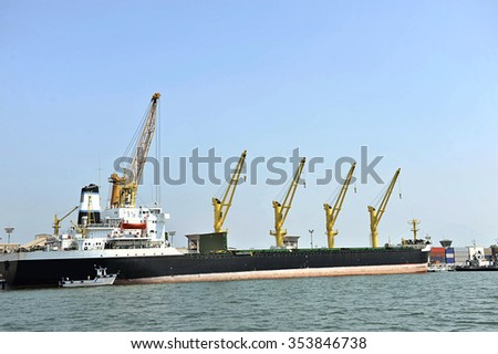 Grain ship at the Port of Paranagua - Brazil