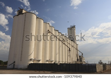 Grain silo in the morning located in Oklahoma, USA. - stock photo