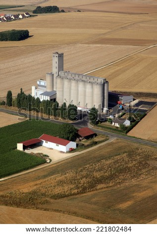 Grain silo in the wheat fields
