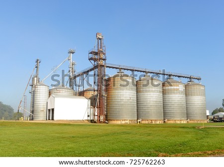 Grain storage silo on a farm in Michigan