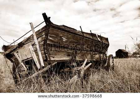 Grain wagon on a farm. - stock photo