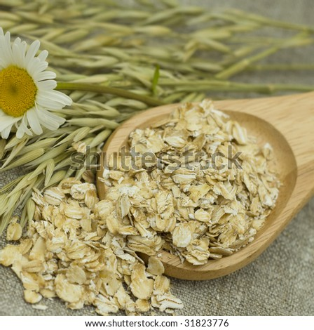 Grains of oats  flakes in wooden spoon - stock photo