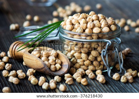 Grains of raw chickpeas - stock photo