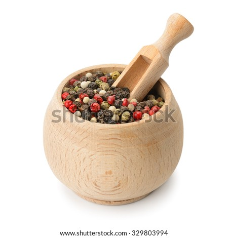 grains pepper and wooden scoop in pot isolated on white - stock photo