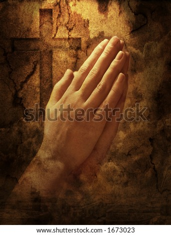 Grainy and gritty photocomposition on hands clasped in prayer and a cross. - stock photo