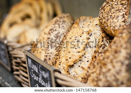 grainy bread in a french bakery - stock photo