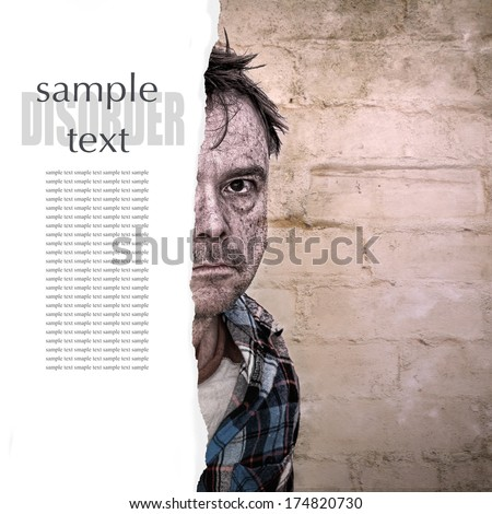Grainy Grunge image of a Man with Mental Health Issues - stock photo