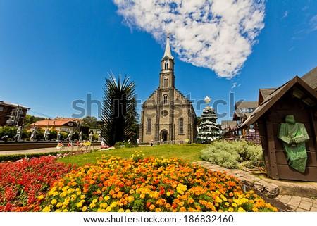 Gramado city, Rio Grande do Sul - Brazil. St. Peter's Church (Catedral de Pedra). - stock photo