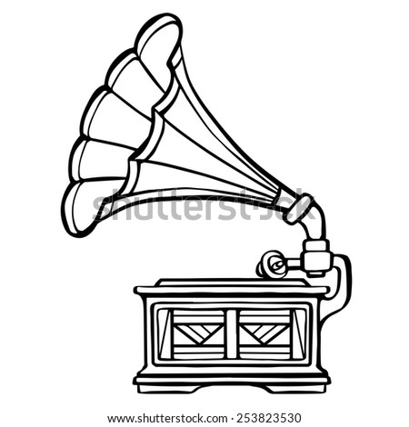 Gramophone closeup, black line,  musical icon isolated on white background  - stock photo