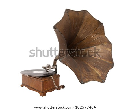 gramophone isolated on white - stock photo