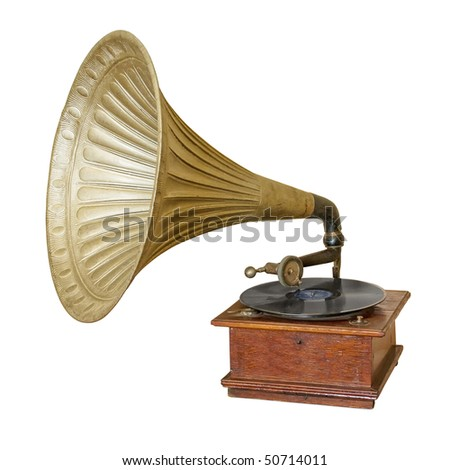 Gramophone isolated on white. Clipping path included. - stock photo