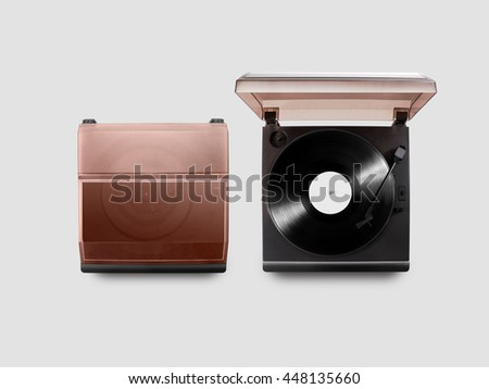 Gramophone vinyl player mockup opened and closed, top view, isolated.  - stock photo