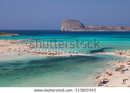 Gramvousa Island seen from Balos Beach in Crete, Greece.