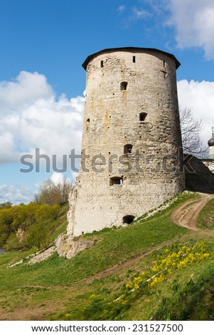 Gramyachaya tower and destroyed old fortification walls of Pskov, Russia