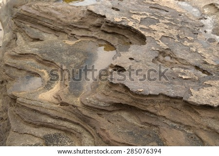 Gran Canaria, El Confital beach at the edge of Las Palmas, eroded sandstone patterns - stock photo