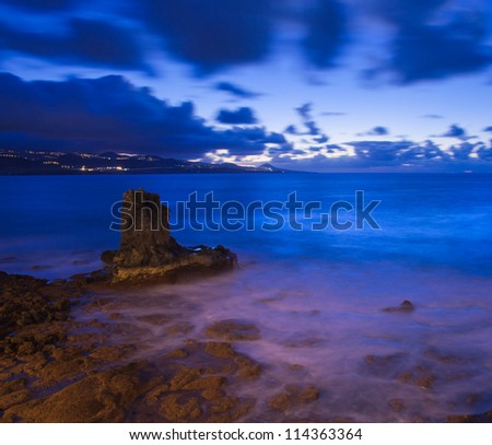 Gran Canaria, night shot from the edge of Las Canteras beach - stock photo