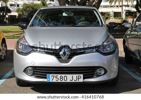 GRAN CANARIA, SPAIN - DECEMBER 2, 2015: Renault Clio parked in Gran Canaria, Spain. Renault manufactured 2.7 million new cars in 2014.