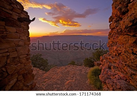Gran Canyon View. Scenic Grand Canyon Sunset From Watch Tower Place. Arizona, United States. - stock photo
