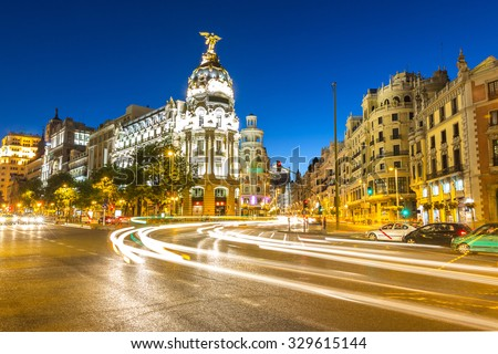 Gran Via, main shopping street in Madrid, Spain at dusk - stock photo