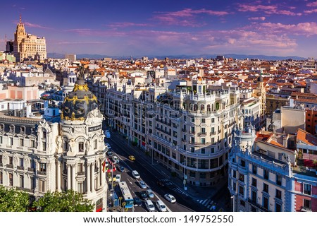 Gran Via Street, Madrid, Spain - stock photo