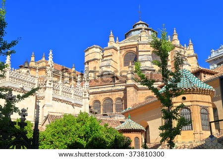 Granada Cathedral, or the Cathedral of the Incarnation building in Granada, Andalusia, Spain - stock photo