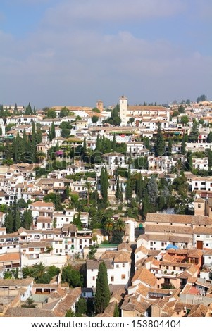Granada in Andalusia region of Spain. Cityscape of white homes.