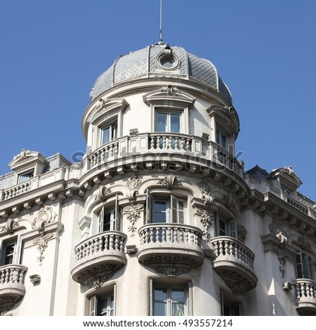Granada in Andalusia region of Spain. Old decorative apartment building.