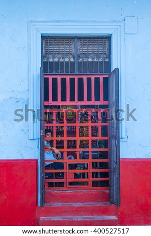 GRANADA , NICARAGUA - MARCH 20 : Architectural details in Granada Nicaragua on March 20 2016. Granada was founded in 1524 and it's the first European city in mainland America