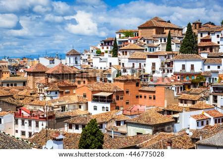 Granada, Spain - Albaicin Moorish medieval quarter, traditional arabic architecture of Andalusia - stock photo