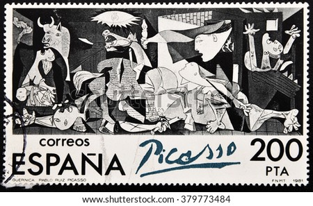 GRANADA, SPAIN - AUGUST 19, 2011: Stamp printed in Spain shows Guernica painting by Pablo Picasso, 1981 - stock photo