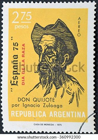 GRANADA, SPAIN - DECEMBER 1, 2015: a stamp printed in Argentina shows Don Quixote, Drawing by Ignacio Zuloaga, 1975 - stock photo