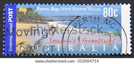 GRANADA, SPAIN - DECEMBER 1, 2015: A stamp printed in Australia shows Byron Bay, New  South Wales, 2000 - stock photo